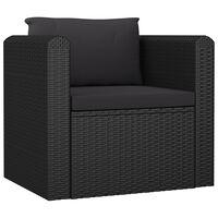 vidaXL Кресло с възглавници, полиратан, черно