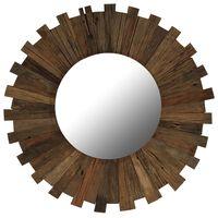 vidaXL Огледало за стена, регенерирано дърво масив, 70 cм