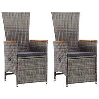 vidaXL Накланящи градински столове с възглавници 2 бр полиратан сиви