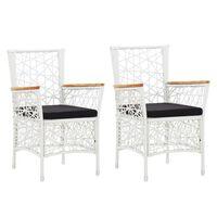 vidaXL Външни столове с възглавници, 2 бр, полиратан, бели
