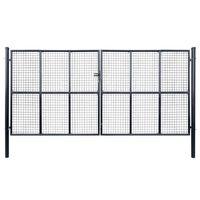 vidaXL Мрежеста градинска врата, поцинкована стомана, 400x175 см, сива