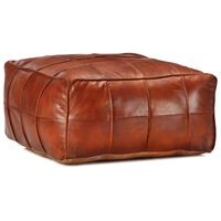 vidaXL Пуф, жълтокафяв, 60x60x30 см, естествена козя кожа