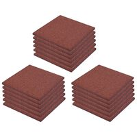 vidaXL Ударопоглъщащи каучукови плочи, 18 бр, 50x50x3 см, червени