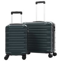 vidaXL Комплект твърди куфари с колелца, 2 бр, зелен, ABS
