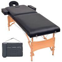 vidaXL Сгъваема масажна кушетка с 2 зони, 10 см плътен пълнеж, черна