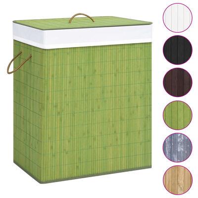vidaXL Бамбуков кош за пране, зелен, 83 л