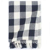 vidaXL Декоративно одеяло, памук, каре, 220x250 см, тъмносиньо