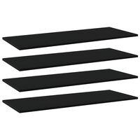 vidaXL Рафтове за етажерка, 4 бр, черни, 100x40x1,5 см, ПДЧ