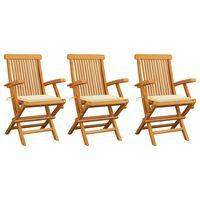 vidaXL Градински столове с кремави възглавници 3 бр тиково дърво масив