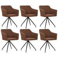 vidaXL Въртящи се трапезни столове, 6 бр, кафяви, текстил