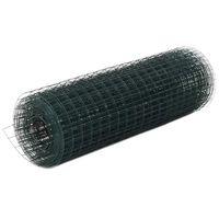 vidaXL Кокошкарска мрежа, стомана с PVC покритие, 25х0,5 м, зелена