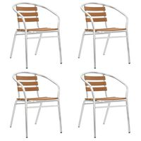 vidaXL Стифиращи градински столове, 4 бр, алуминий и WPC, сребристи