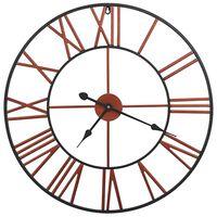 vidaXL Стенен часовник, метал, 58 см, червен
