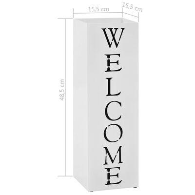 """vidaXL Поставка за чадъри """"Добре дошли"""", стомана, бяла"""