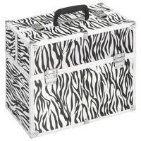vidaXL Куфар за гримове, 37x24x35 см, с шарки на зебра, алуминий