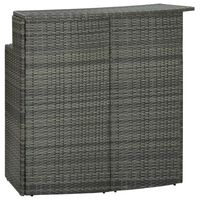 vidaXL Градинска бар маса, сива, 120x55x110 см, полиратан