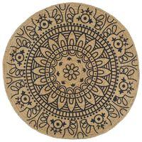 vidaXL Ръчно тъкан килим от юта, тъмносин принт, 120 см