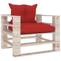 vidaXL Градински палетен диван с червени възглавници, бор
