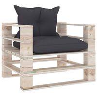 vidaXL Градински палетен диван с възглавници антрацит, борово дърво