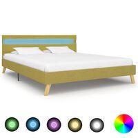 vidaXL Рамка за легло с LED, зелена, плат, 160x200 см