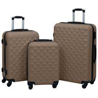 vidaXL Комплект твърди куфари с колелца, 3 бр, кафяв, ABS