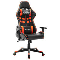 vidaXL Геймърски стол, черно и оранжево, изкуствена кожа