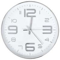 vidaXL Стенен часовник, 30 см, сребрист