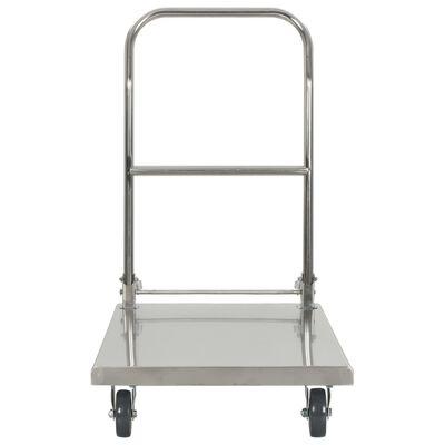 vidaXL Платформена количка, сребриста, 82x53x86 см, неръждаема стомана