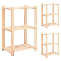 vidaXL 3-етажни стелажи, 3 бр, 60x38x90 см, бор масив, 150 кг
