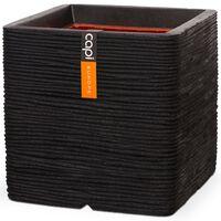 Capi Кашпа Nature Rib, квадратна, 30x30 см, черна, KBLR902
