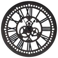 vidaXL Стенен часовник, черен, 70 см, МДФ