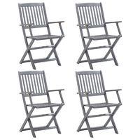 vidaXL Сгъваеми градински столове, 4 бр, акация масив
