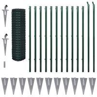 vidaXL Евромрежа, стомана, 25x1,5 м, зелена