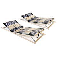 vidaXL Подматрачни рамки с 42 ламела, 2 бр, 7 зони, 70x200 см