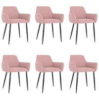 vidaXL Трапезни столове, 6 бр, розови, кадифе