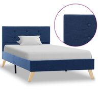vidaXL Рамка за легло, синя, плат, 100x200 см