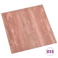 vidaXL Самозалепващи подови дъски, 55 бр, PVC, 5,11 м², червени