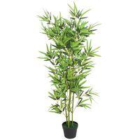 vidaXL Изкуствено растение бамбук със саксия, 120 см, зелено