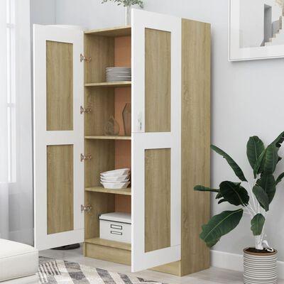 vidaXL Шкаф за книги, бяло и дъб сонома, 82,5x30,5x150 см, ПДЧ