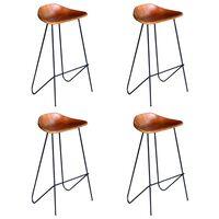 vidaXL Бар столове, 4 бр, естествена кожа, кафяви