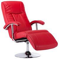 vidaXL ТВ фотьойл, червен, изкуствена кожа