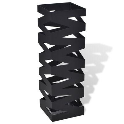 Квадратна стойка за бастуни и чадъри, стомана, черна, 48.5 см