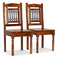 vidaXL Трапезни столове, 2 бр, масивно дърво с класически финиш шишам