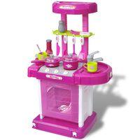 Детска кухня за игра със светлинни и звукови ефекти, розов цвят