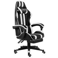 vidaXL Геймърски стол с подложка за крака черно/бяло изкуствена кожа