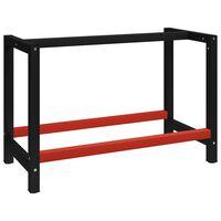 vidaXL Рамка за работна маса, метал, 120x57x79 см, черно и червено