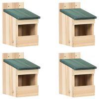 vidaXL Къщи за птици, 4 бр, 12x16x20  см, чам