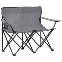 vidaXL 2-местен сгъваем къмпинг стол, стомана и плат, сив