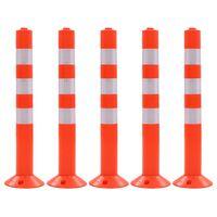 vidaXL Сигнални колчета за контрол на трафика, 5 бр, пластмаса, 75 см