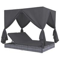 vidaXL Градинско лаундж легло със завеси, полиратан, сиво